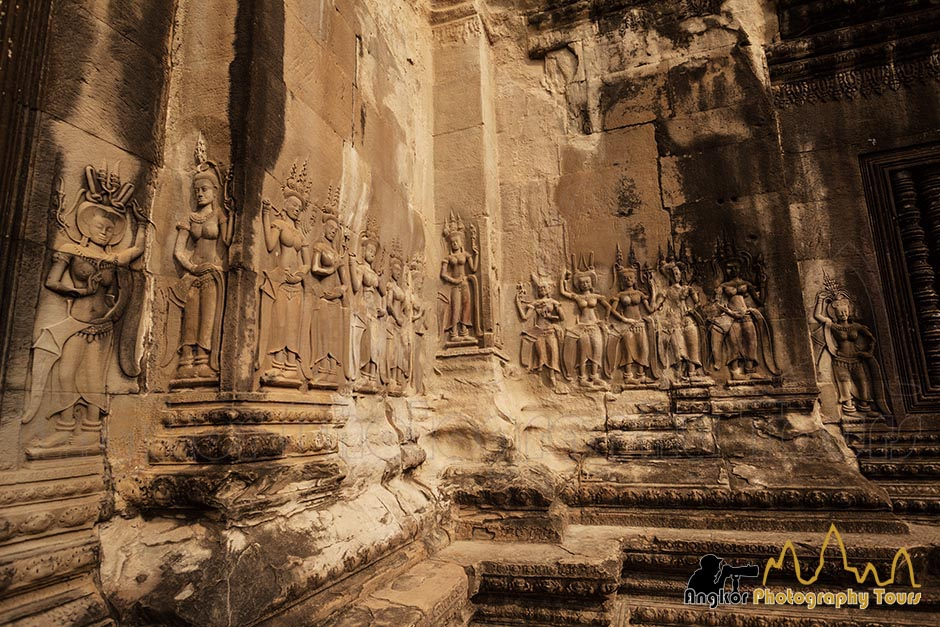 Celestial dancers carvings at Angkor Wat
