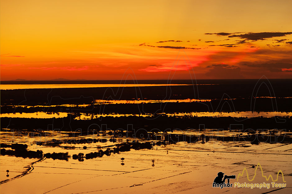 sunset near Tonle Sap lake