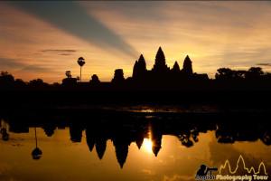 Beautiful sunrise at Angkor Wat with beams of light