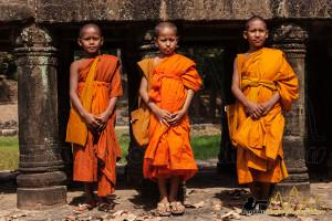 novice cambodian monks in Angkor